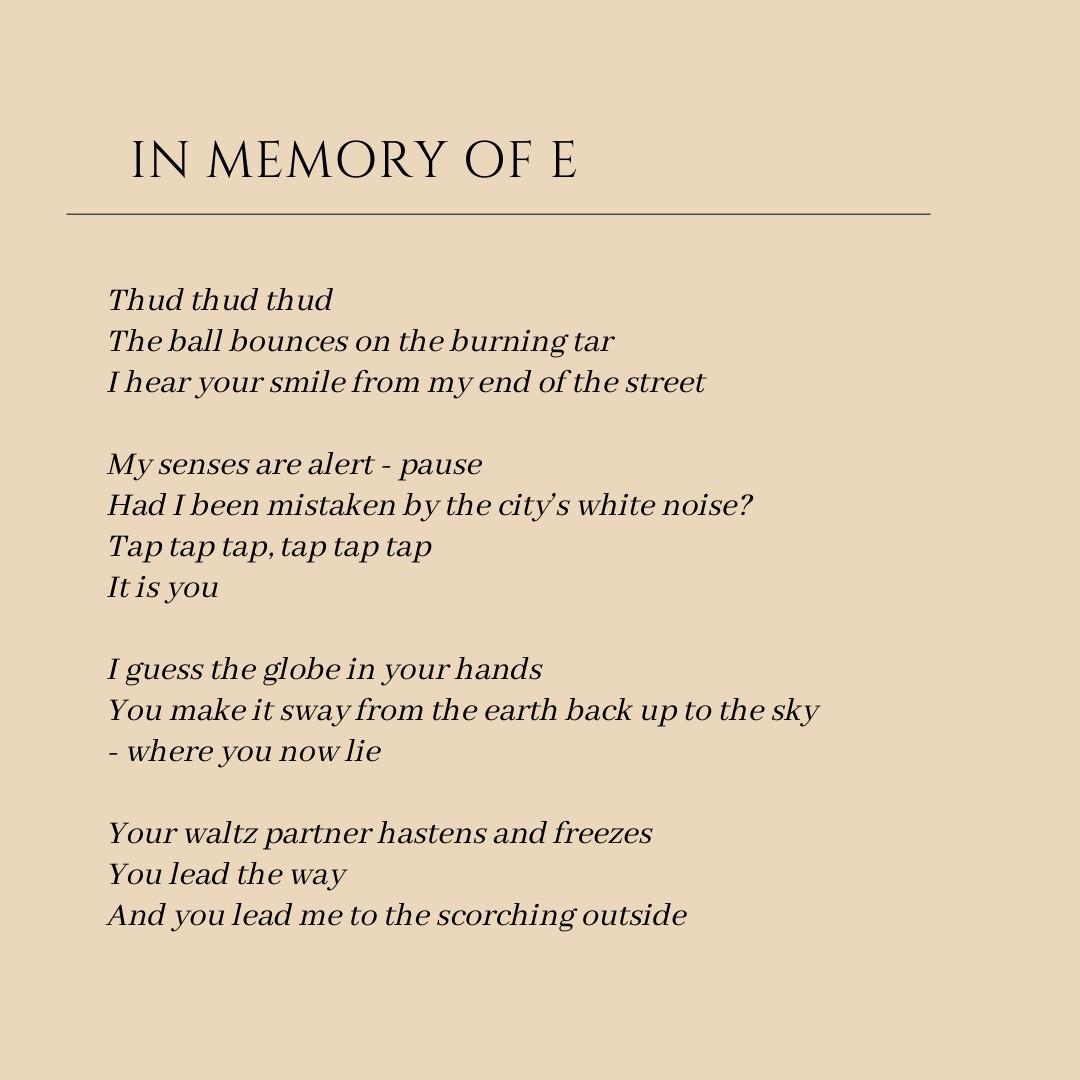 In memory of E