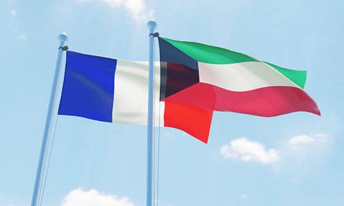 Drapeaux France et Koweït